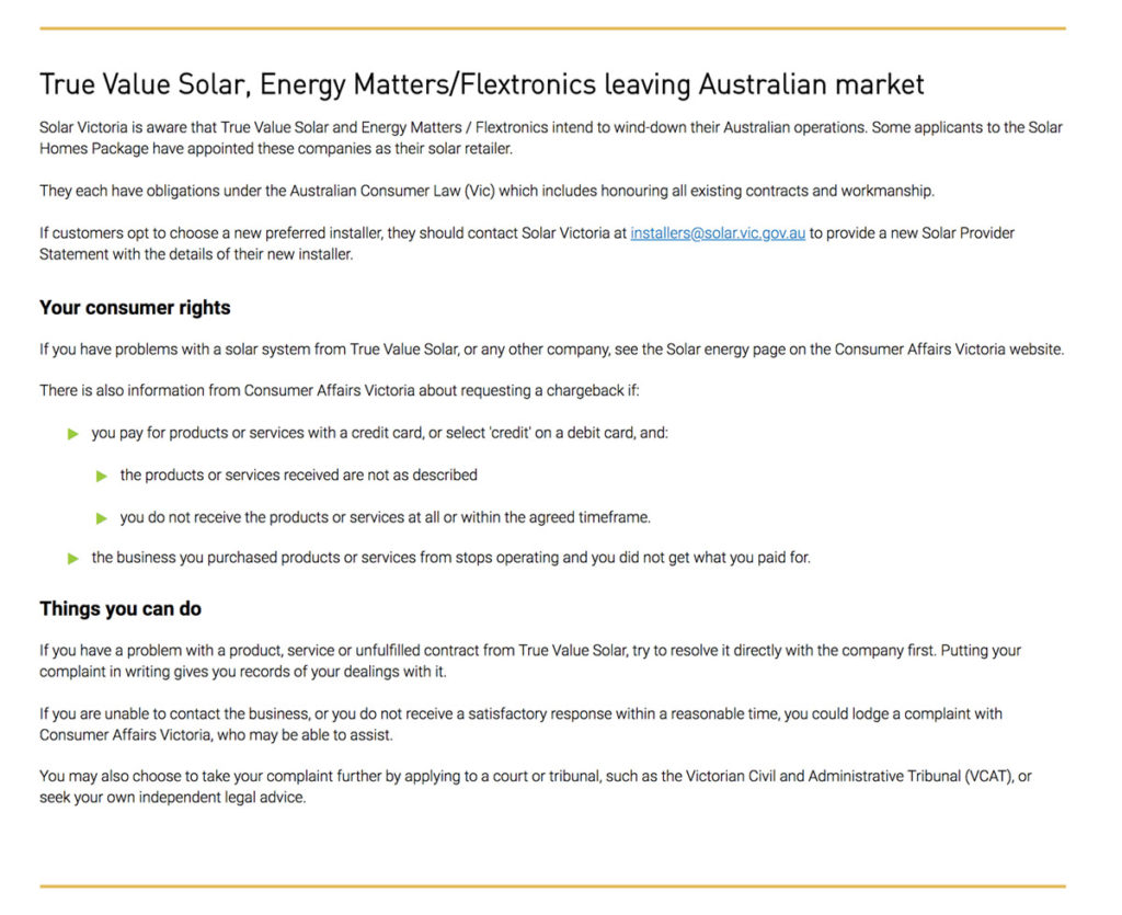 Screenshot on Solar Victoria website about companies that left customers high and dry